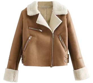 Goodnight Macaroon 'Calida' Faux Shearling Cropped Jacket (2 Colors)