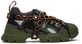 Gucci Green Removable Crystals Flashtrek Sneakers
