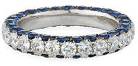 Graziela Gems 18k White Gold Sapphire & Diamond 3-Sided Ring