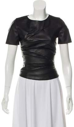 Narciso Rodriguez Short Sleeve Leather Top