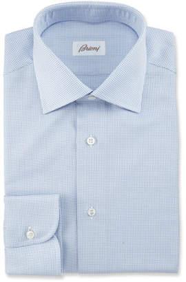 Brioni Textured Grid Dress Shirt, Blue