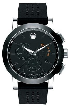 Movado 44mm Museum Sport Chronograph Watch, Black/Orange $995 thestylecure.com