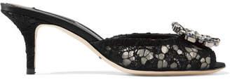 Dolce & Gabbana Crystal-embellished Corded Lace Mules - Black