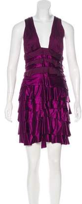 Versace Satin Tiered Dress