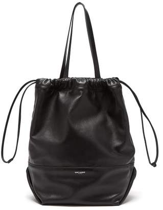 046a0a46d276 Saint Laurent Harlem Drawstring Leather Tote Bag - Womens - Black