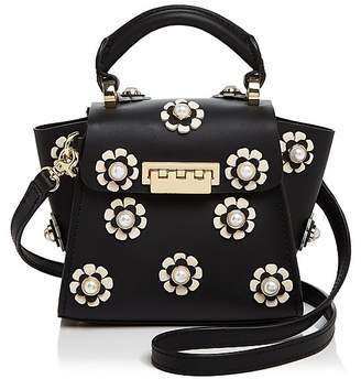 Zac Posen Eartha Iconic Faux-Pearl Floral Top Handle Mini Leather Crossbody