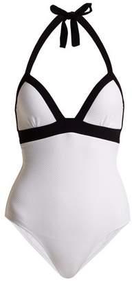 Heidi Klein Anacapri Halterneck Push Up Swimsuit - Womens - White Multi
