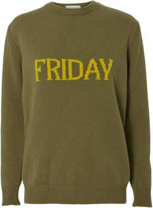 Alberta Ferretti Friday Wool-Cashmere Crewneck Sweater