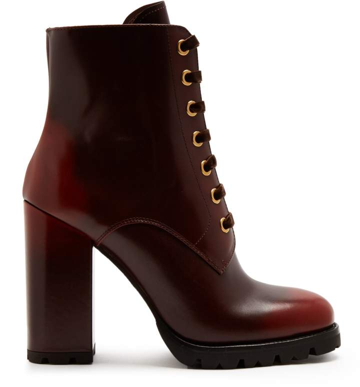 PRADA Lace-up leather ankle boots