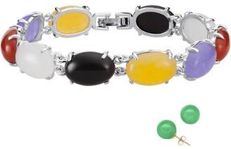 """Generic Jade Cabochon Bracelet with Pierced Earrings, 8"""""""