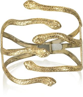 Bernard Delettrez Six Snake Bronze Cuff Bracelet