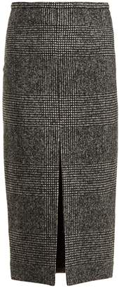 Rochas Check wool-blend pencil skirt