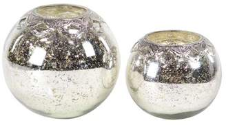 DecMode Decmode Modern 7 And 9 Inch Round Silver Glass And Iron Candle Holders - Set of 2