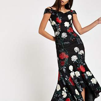 River Island Chi Chi London black floral bardot dress