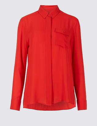 Marks and Spencer Dipped Hem Pocket Detail Long Sleeve Shirt