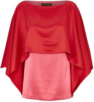 St. John Satin Cape Detail Blouse