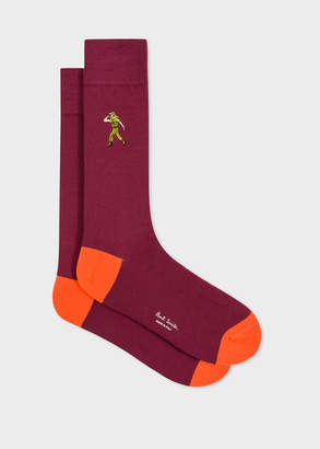 Paul Smith Men's Burgundy 'People' Embroidered Socks