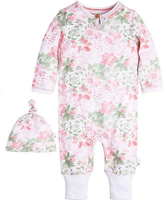 Burt's Bees Baby Succulent Flowers Ruffled Organic Cotton Coverall and Hat Set