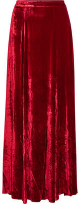 Alice + Olivia Alice Olivia - Athena Crushed-velvet Maxi Skirt - Red
