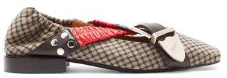 Toga Cross Strap Checked Wool Flats - Womens - Red Multi