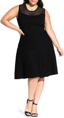 City Chic Illusion Detail Simply Skater Dress