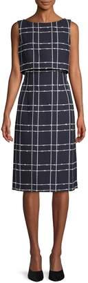 Oscar de la Renta Plaid Cotton Blend A-Line Dress
