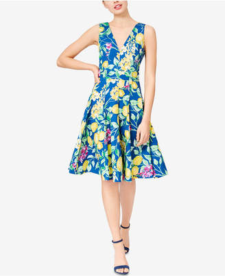 Betsey Johnson Lemon-Print Fit & Flare Dress