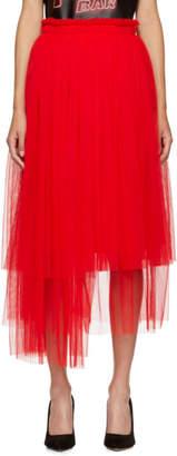 MSGM Red Tulle Skirt