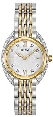 Bulova Ladies Curv Diamond Women's Quartz Watch with White Dial Analogue Display and Multicolour Stainless Steel Bracelet 98R229