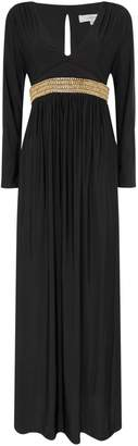 Issa Hannah cross front embellished maxi