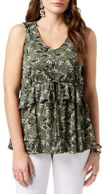 Style&Co. Style & Co. Petite Printed Ruffled Top