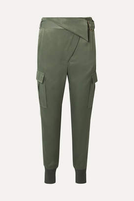 3.1 Phillip Lim Fold-over Satin Tapered Pants - Gray green