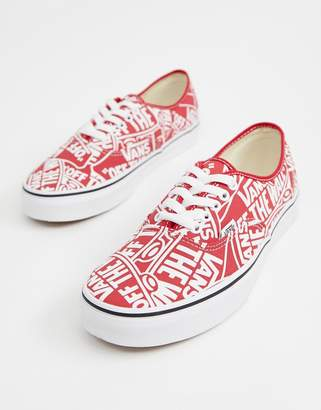 571d56d7fd Vans Authentic all over print plimsolls in red VN0A38EMUKL1