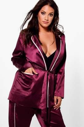 boohoo Jordyn Satin Contrast Binding Pyjama Jacket