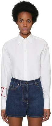 Valentino Vlogo Printed Cotton Poplin Shirt
