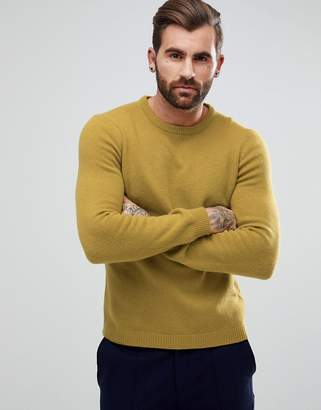 Asos DESIGN Lambswool Sweater In Lime Green