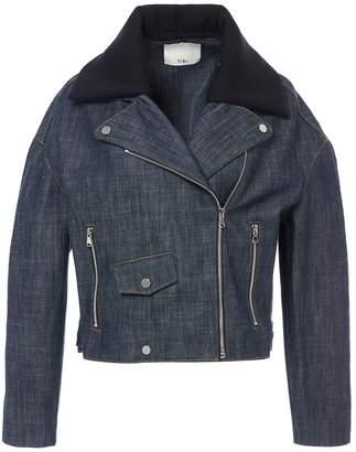 Tibi Raw Denim Oversized Cropped Moto Jacket with Removable Collar