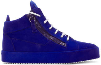 Giuseppe Zanotti Blue Flocked May London High-Top Sneakers