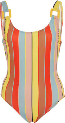 Solid & Striped Stella Buckle Striped One-Piece Swimsuit