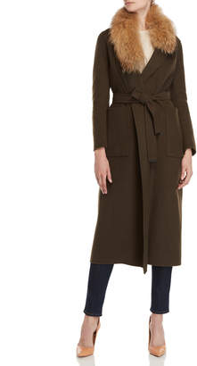 Soia & Kyo Real Fur Collar Belted Coat