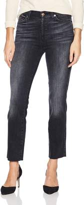 7 For All Mankind Women's Edie Cropped Straight Leg Jean with Raw Hem Pants