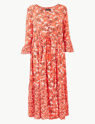 Marks and Spencer PETITE Floral Drawcord Relaxed Midi Dress