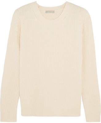Vince - Tie-back Ribbed Cotton And Cashmere-blend Sweater - Cream $325 thestylecure.com