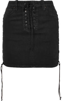 Unravel Project Lace-up Denim Mini Skirt - Black