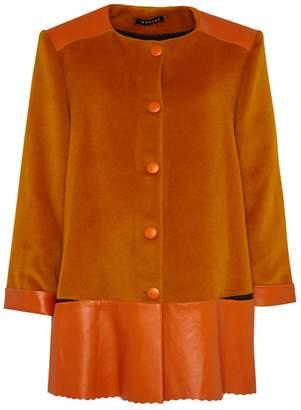 Manley - Sadie Cashmere Wool and Leather Coat Orange