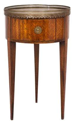Inlaid Wood & Stone Side Table