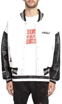 Taverniti So Ben Unravel Project Logo Leather Bomber Jacket