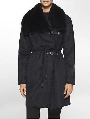 Calvin KleinCalvin Klein Womens Belted Faux Shearling Toggle Coat Jacket