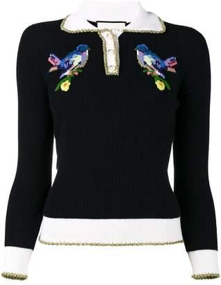 Gucci bird embroidered jumper