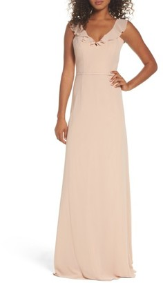 Women's Monique Lhuillier Bridesmaids Keira Backless Chiffon Gown $280 thestylecure.com